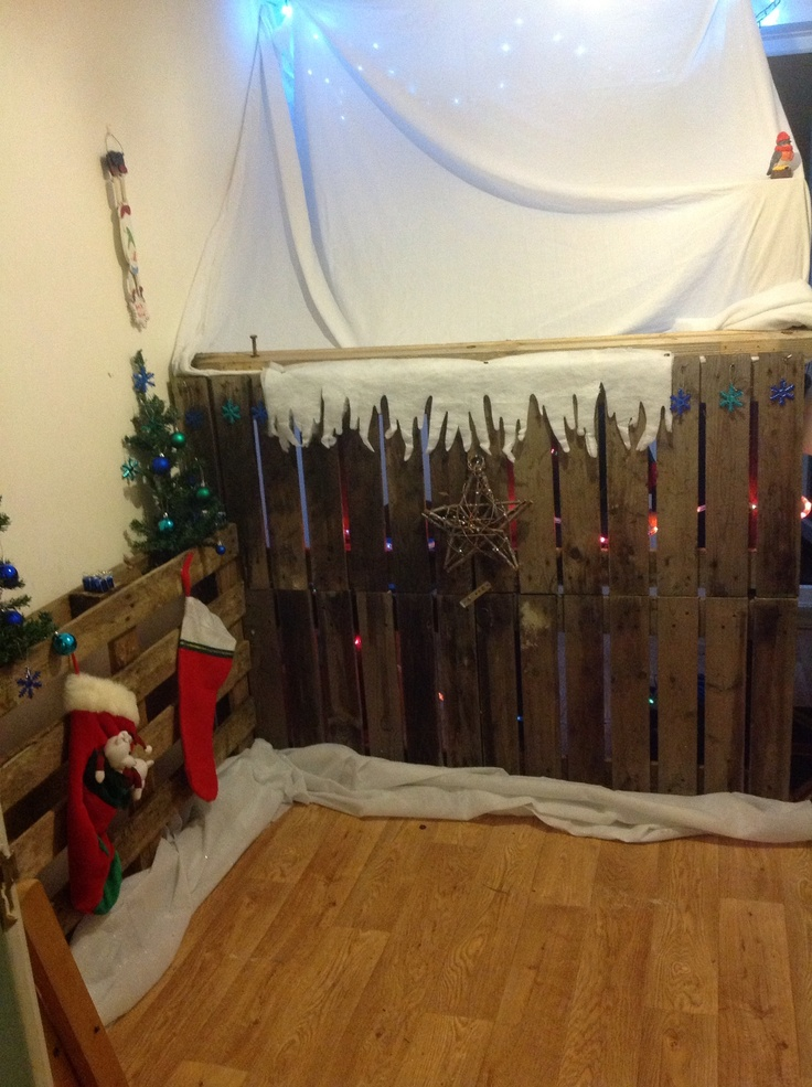 Pallet fences as decor for Santa's Grotto or  even for a photo booth