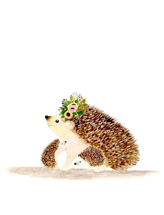 I love you mommy hedgehog Woodland nursery Animal by zuhalkanar
