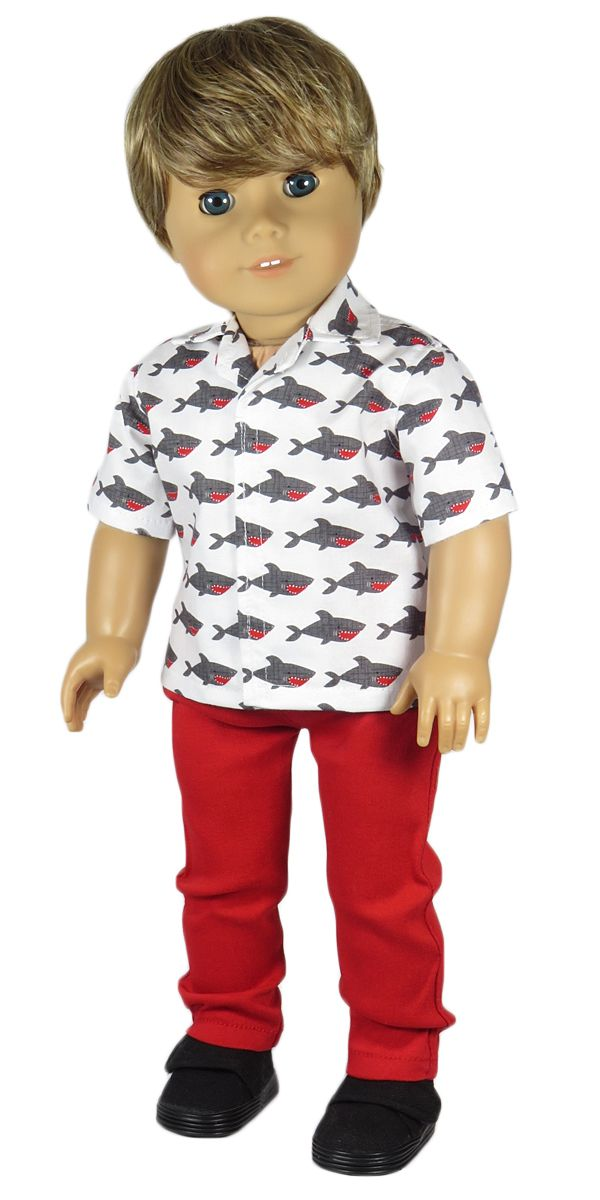 Doll Clothes outfit for American Boy doll - Silly Monkey - Shark Top and Red Pants, $22.00 (http://www.silly-monkey.com/products/shark-top-and-red-pants.html)