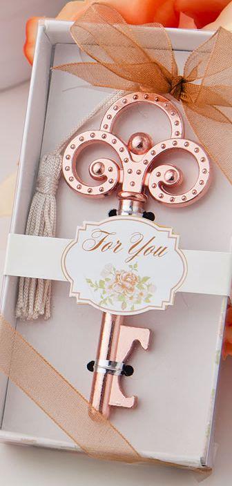 Fabulous and affordable favor!  100 Rose Gold Vintage Skeleton Key Bottle Opener Wedding Favors - Affordable Elegance Bridal -