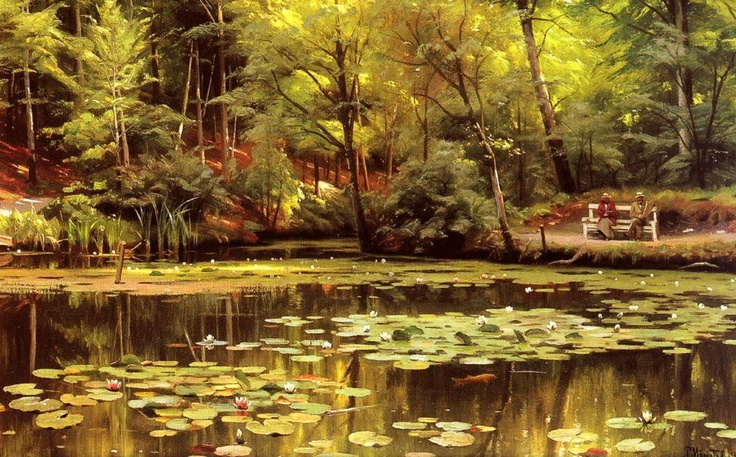 Waterlilies, Oil On Canvas by Peder Mork Monsted (1859-1941, Denmark)