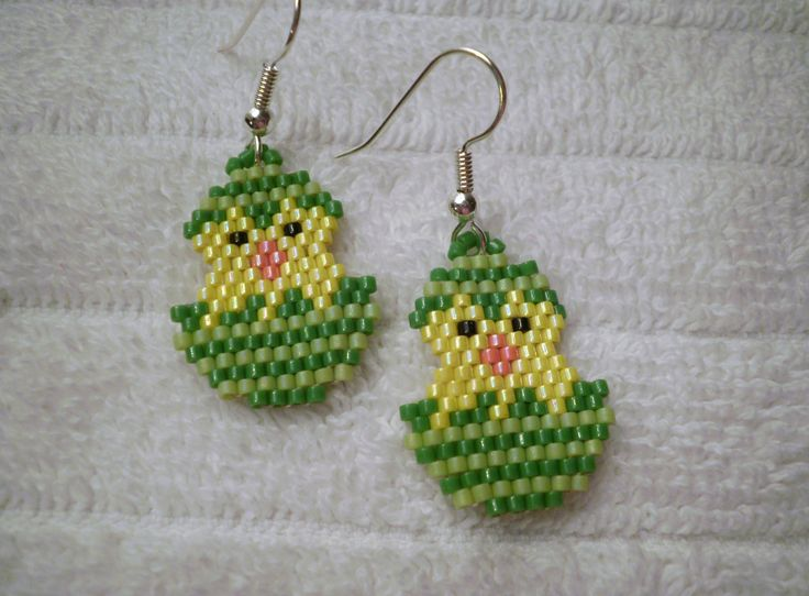 Easter Chick in a Green Egg done  in the Peyote Stitch Dangle Earrings by JazminsJewels on Etsy