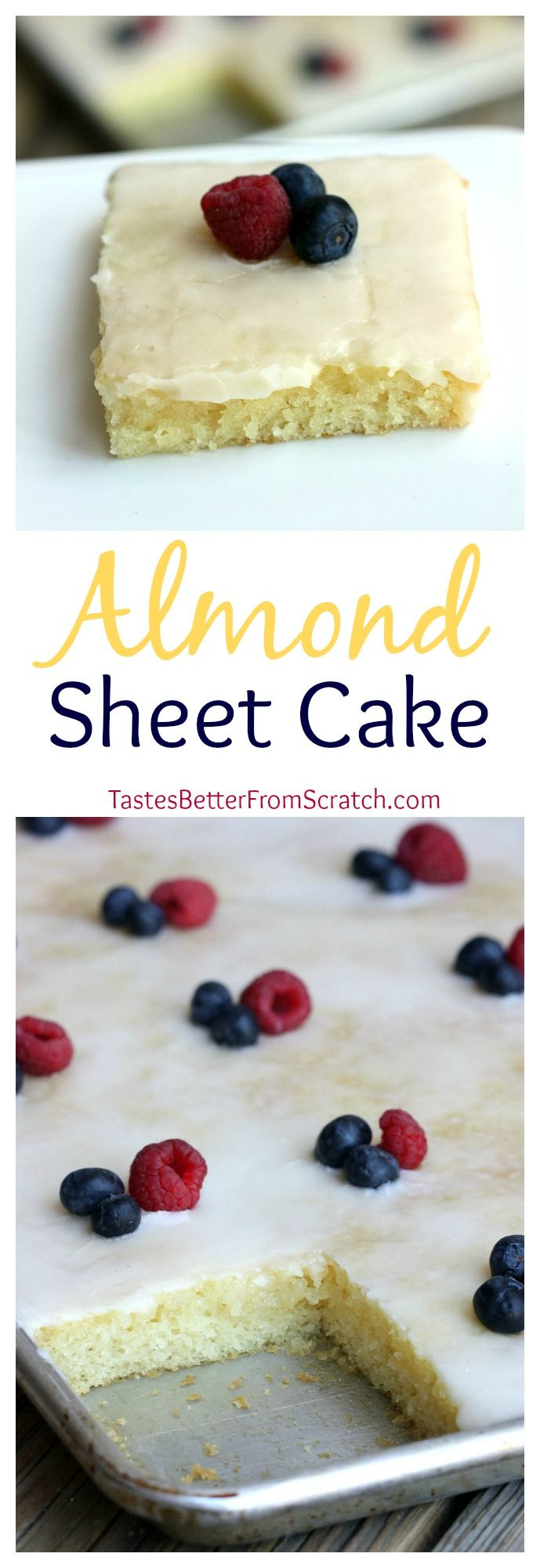 This Almond Sheet Cake could be the best cake I've ever made! So moist and delicious--the frosting your pour on top is to die for! On MyRecipeMagic.com