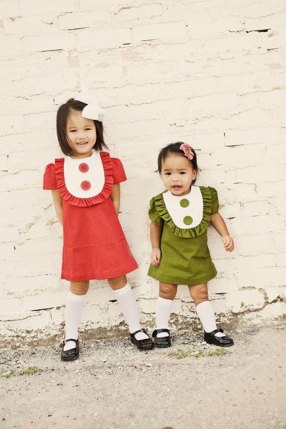 Retro 1960s Style Linen Layla dress with bib and ruffles-children clothing-girls dresses on Etsy, $48.00