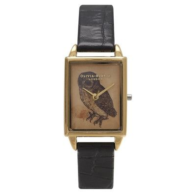 Woodland Rectangular Owl Watch – Black Croc and Gold The Dressing Room - Fashion Styles UK