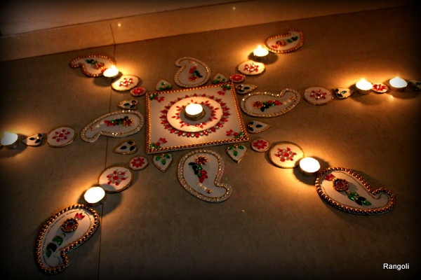Ribbon's to Pasta's: Jewelled Rangoli and a Happy Diwali