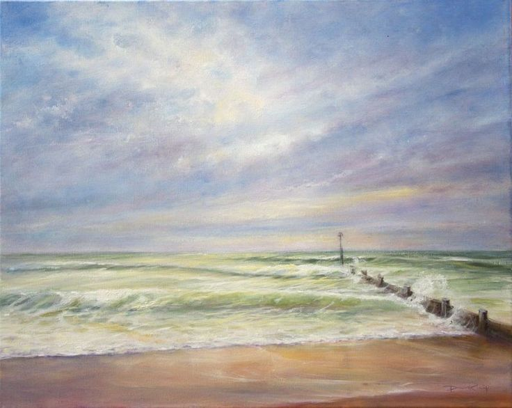 """""""Spring Breakers"""" by Stella Dunkley. Oil painting on Canvas, Subject: Landscapes, sea and sky, Impressionistic style, One of a kind artwork, Signed on the front, This artwork is sold unframed, Size: 50 x 40 x 2 cm (unframed), 19.69 x 15.75 x 0.79 in (unframed), Materials: Oil on linen box canvas"""