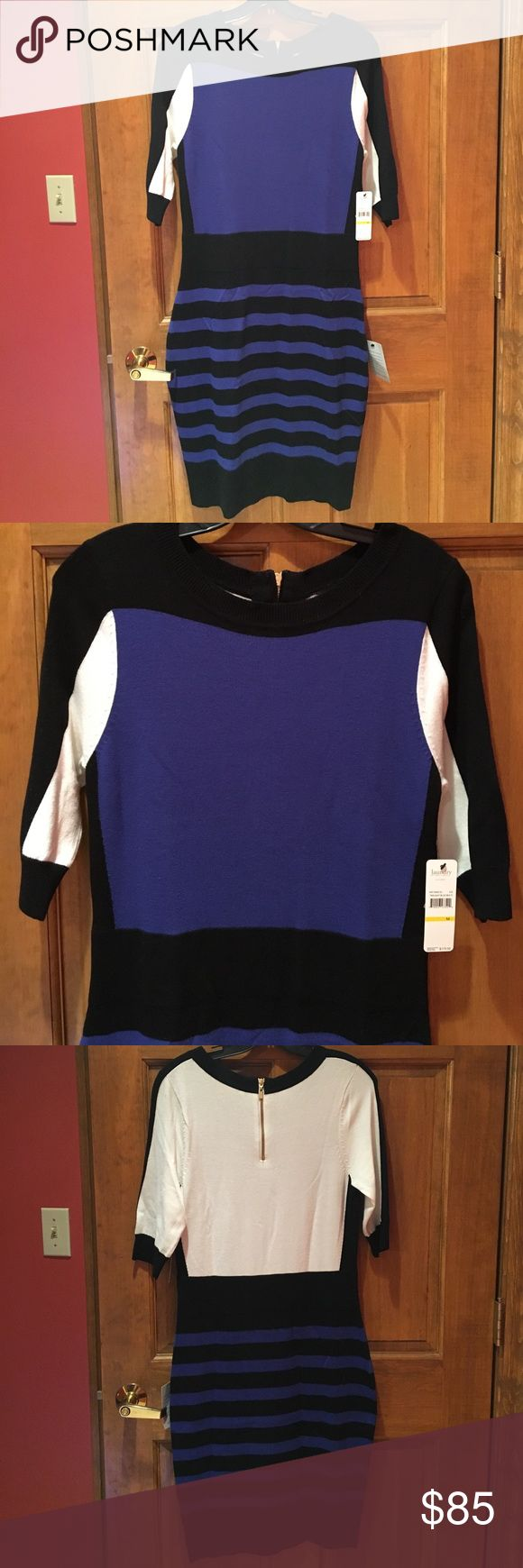 NWT TRICOLOR LAUNDRY DRESS SIZE MEDIUM NWT TRICOLOR LAUNDRY DRESS SIZE MEDIUM. COBALT BLUE, BLACK AND WHITE. HAS GOLD ZIPPER HALFWAY DOWN BACK. OPEN TO REASONABLE OFFERS. Laundry by Shelli Segal Dresses