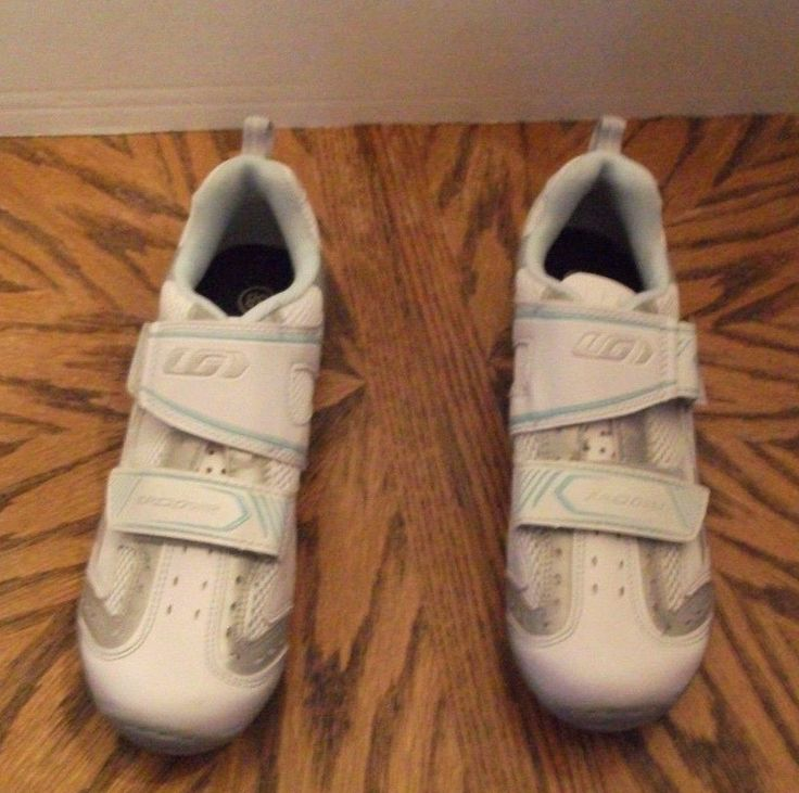 Louis Garneau Ergo Grip White Women's Cycling Shoes size 38 EUC Triathlon #LouisGarneau #Cycling