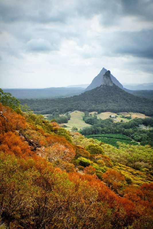 the Glasshouse Mountains in Queensland. beautiful colours