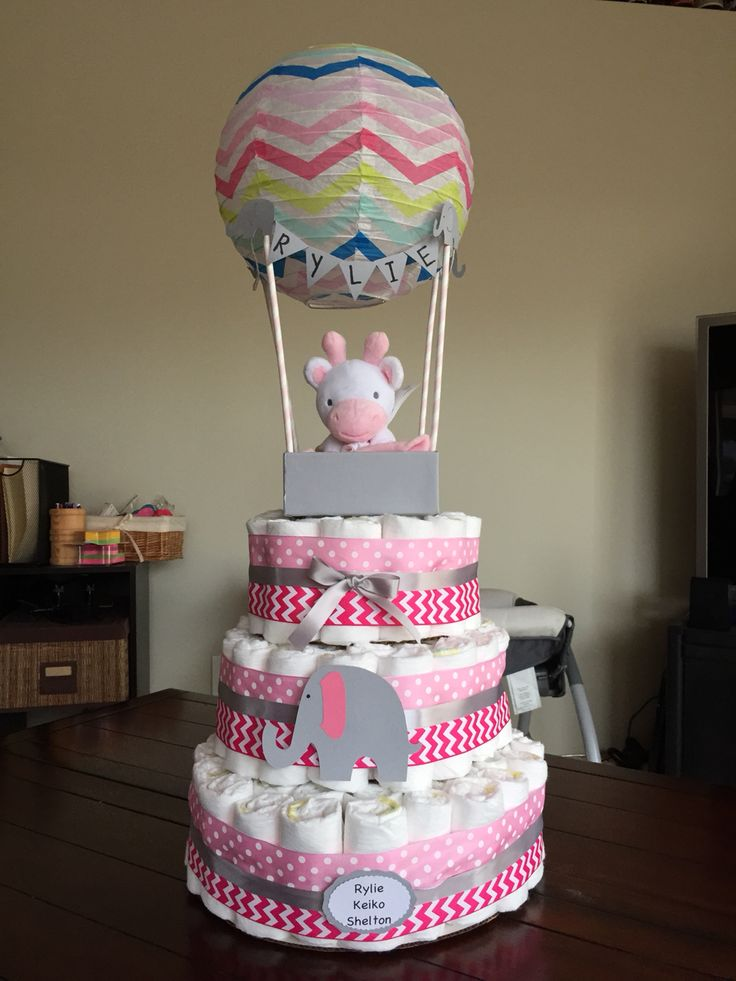 Hot air balloon diaper cake                                                                                                                                                                              (Diaper Cake)