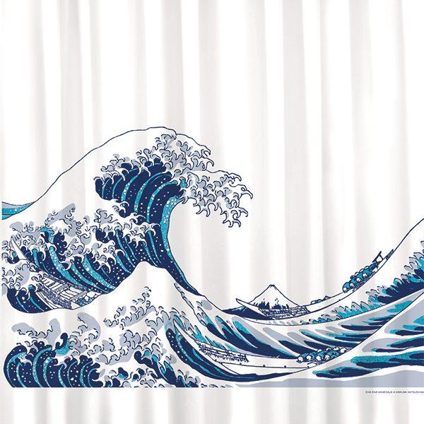 Shower curtain / cortina de ducha / Rideaux de duche. Modelo La Ola de Hokusai. Made in Barcelona.  www.cha-cha.es