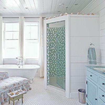 Shower interior...Decor, Beach House, White Bathroom, Master Bath, Bathroom Ideas, Shower, Beachhouse, Cottages Room, Cottages Bathroom