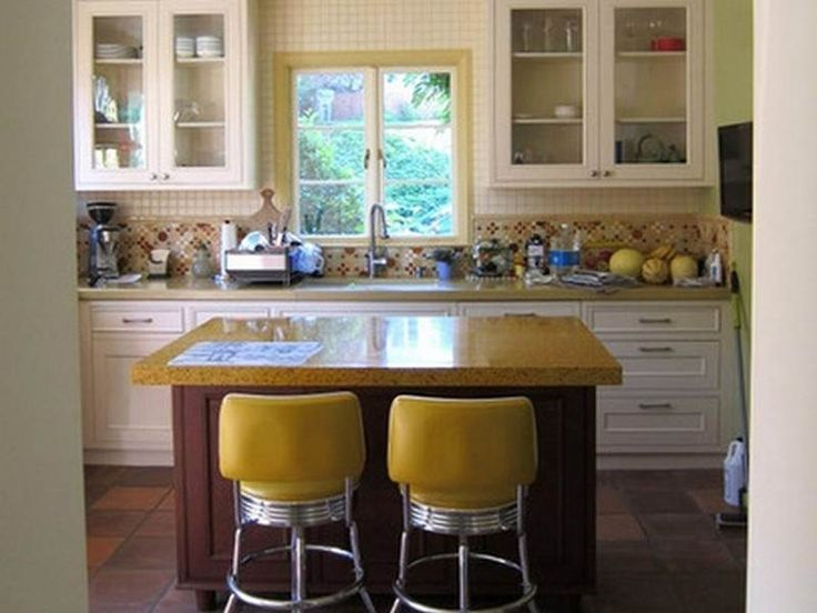 Retro pale yellow kitchen chairs on modern retro style kitchen  with small space designed with simple pure white hanging cabinet  with glass fronted Retro pale yellow kitchen chairs on modern retro style kitchen  . Hanging Cabinet Designs For Kitchen. Home Design Ideas