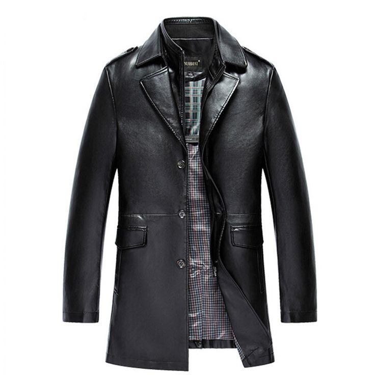 New Arrival Men's Genuine Leather Jacket Men Coat Brand Men Leather Bomber Jacket Blazers Veste Cuir Homme Long Leather Coat Men