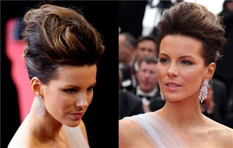 Kate Beckinsale Hairstyles: Messy Updo