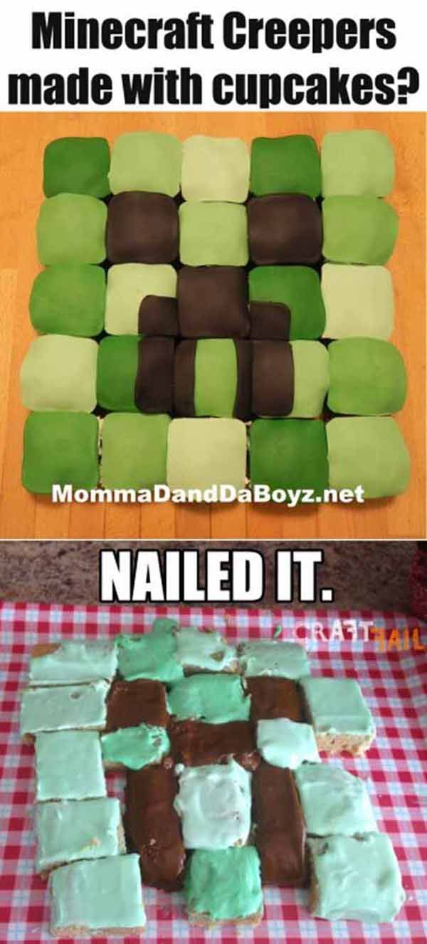 I Saw It On Pinterest So I Did It Myself... And NAILED It! 20 Hilarious Pinterest Baking Fails.  Reminds me of the Minecraft cookies I made and sent everyone.  What a bust!