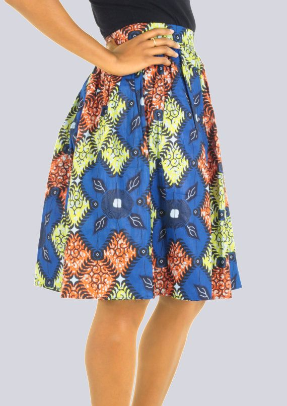 African Print Skirt, Colourful Skirt, Batik Skirt, Casual Skirt, Knee-Length Skirt, Aline Skirt, Summer Skirt, Multi-Coloured Skirt,