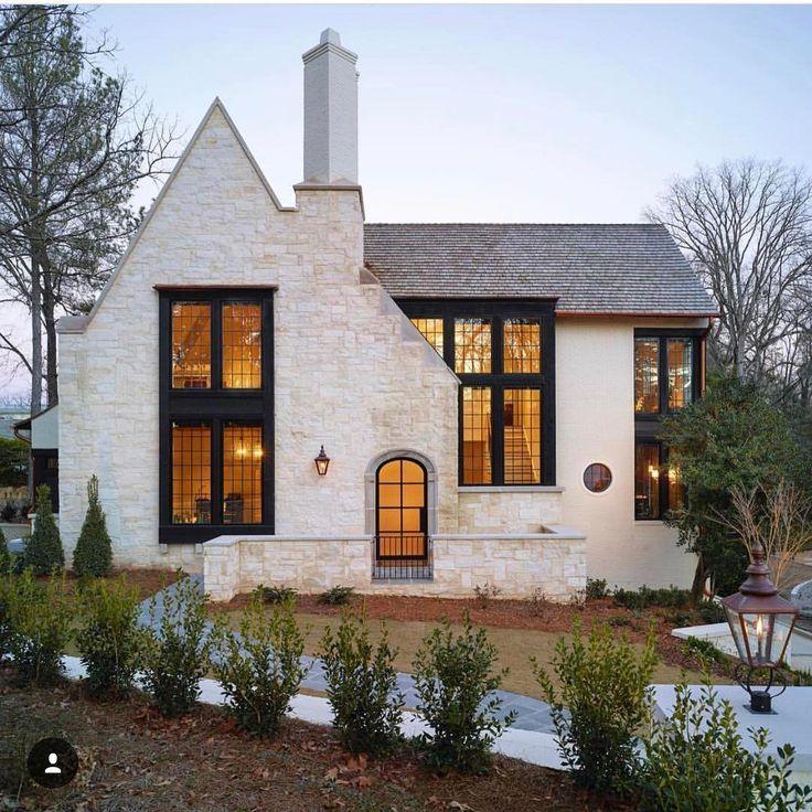white exterior black windows