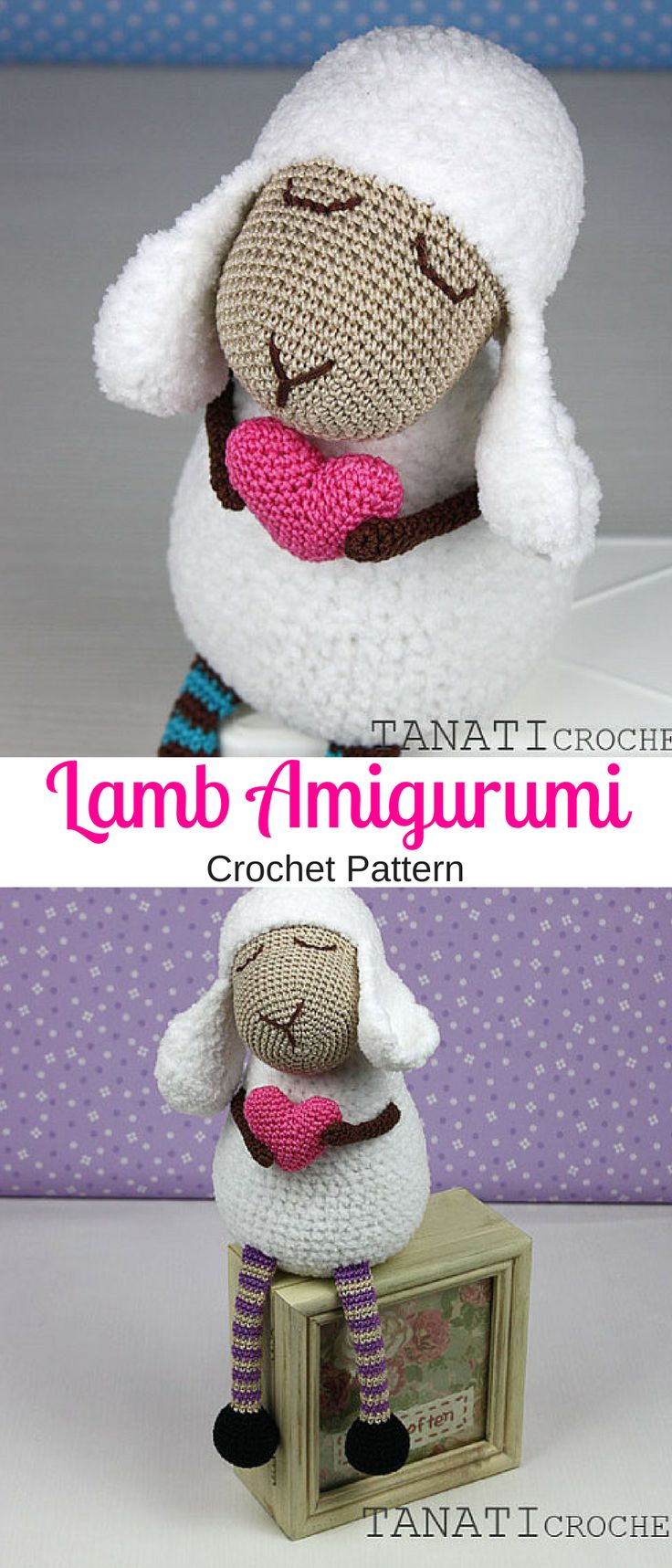 "Crochet Pattern of ""Lamb Heart"". Make your own adorable Lamb amigurumi #lamb #ad #amigurumi #crochetpattern"