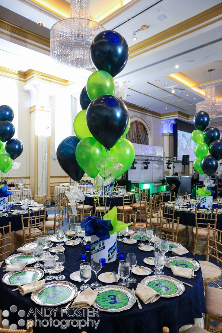Bar Mitzvah balloon theme centerpiece in the Main Ballroom at The Grove- upscale event venue in New Jersey.