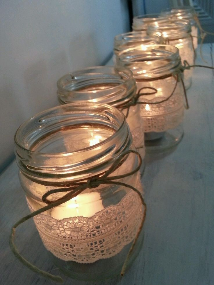 10 Rustic Lace Glass JAR Candle Holder Wedding Christmas Decoration | eBay