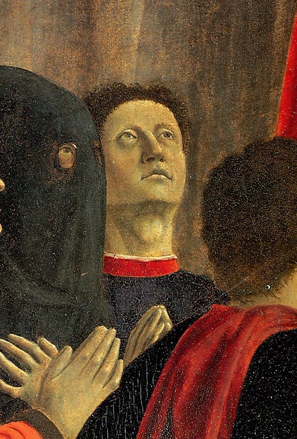 Piero della Francesca, Polyptych of the Misericordia, 1444-1464, detail of self-portrait. Sansepolcro, Museo Civico.
