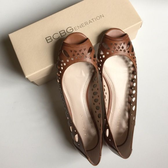 NIB BCBG Leather Peep Toe Flat Gorgeous! Only tried on. Box included. Leather upper and man made rubber sole. BCBGeneration Shoes Flats & Loafers