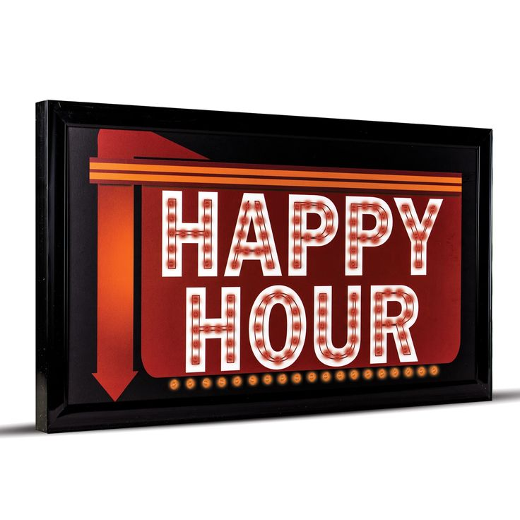 Gallery Happy Hour Down Arrow Framed Marquee LED Signs