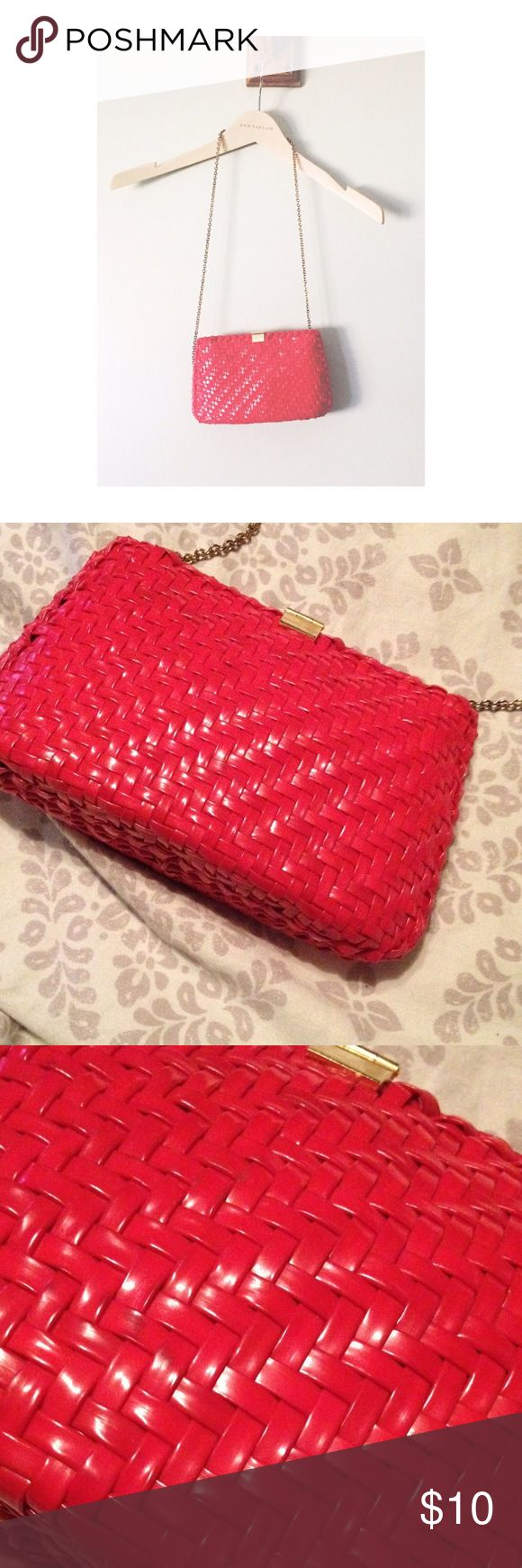 Red Clutch Purse Small red clutch purse with gold chain in a beautiful basket weave detail. New condition Bags Clutches & Wristlets