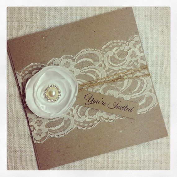 Rustic Wedding Invitation with satin flower - SAMPLE