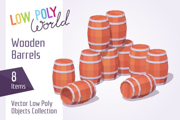Wooden barrels by Graphic Warehouse on @creativemarket