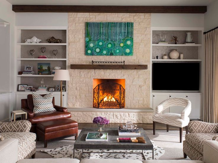 Pretty mantel shelf in Living Room Transitional with Cedar Mantel next to Fireplace Screen alongside Shelf Above Tv and Fireplace With Bookcases
