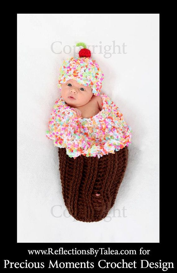 Baby Girl Cocoon Frosted CUPCAKE with Sprinkles Cocoon Set Crochet Newborn Photo Prop on Etsy, $52.00