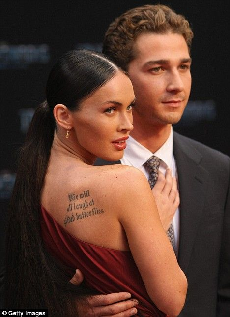 "Megan and her co-star Shia LaBeouf, ""Transformers"" premiere, 2009."