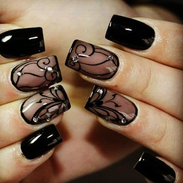 Pin for Later: 25 Black Nail Ideas to Break the Manicure Monotony Sheer Lace