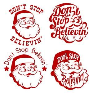 Don't Stop Believin' Happily Singing Santa Claus Christmas Cuttable Design Cut File. Vector, Clipart, Digital Scrapbooking Download, Available in JPEG, PDF, EPS, DXF and SVG. Works with Cricut, Design Space, Sure Cuts A Lot, Make the Cut!, Inkscape, CorelDraw, Adobe Illustrator, Silhouette Cameo, Brother ScanNCut and other compatible software.