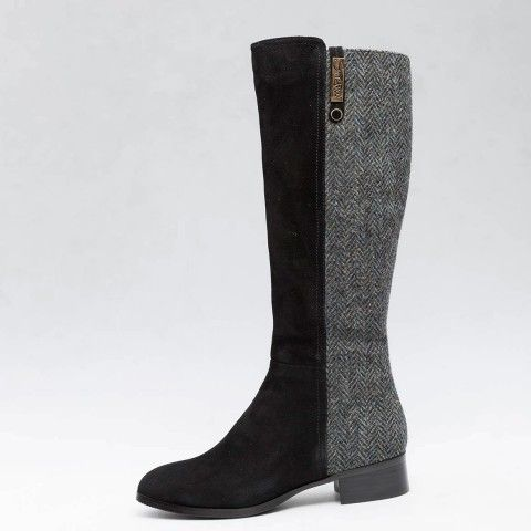 Black #HarrisTweed Knee High Boots  -	Genuine Harris Tweed hand woven in the Outer Hebrides, with the Orb mark certifying every pair. -	Flexible boot shaft, with zip fastening -	Calf height 38cm (measures from top of the heel to top of the boot) -	Heel height 3cm -	Sheepskin, suede and Harris Tweed are delicate materials which should be worn with care and nurtured to have the longest wear