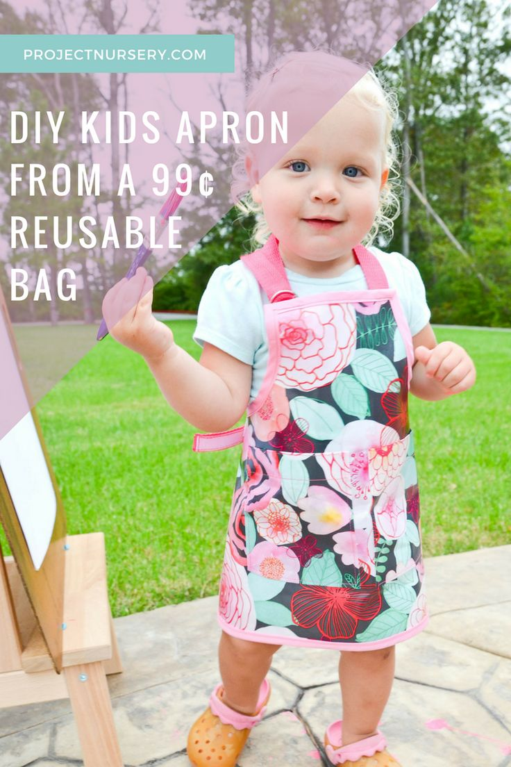 DIY Kids Apron Smock made from a 99¢ reusable grocery bag - clever and cute!