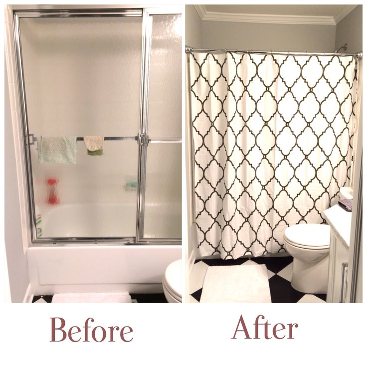 Kept The Ugly Outdated Shower Door And Hide It Behide A