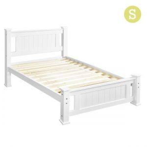 Wooden Bed Frame Pine Wood Single - White
