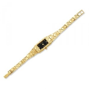 Seiko Watches - Buy Seiko Watches Online at SalmaWatches.com! 10k Ladies Black 15x31mm Dial Rectangular Face Nugget Watch  $1,498.00