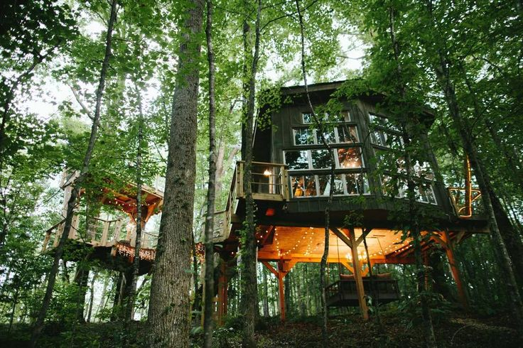 Entire home/apt in Walhalla, US. Extraordinary treehouse hidden in 40 acres of paradise! A place to rest and reconnect: cozy, exotic, whimsical and glamorous; 2 connecting treehouse platforms transport you to utopia! VINTAGE ROYALTY: antique hand painted king bed (must see!), fir...