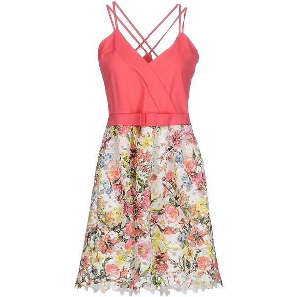 Cristinaeffe Short Dress ($160) ❤ liked on Polyvore featuring dresses, fuchsia, lace mini dress, red floral dress, floral cocktail dresses, floral dresses and red cocktail dress