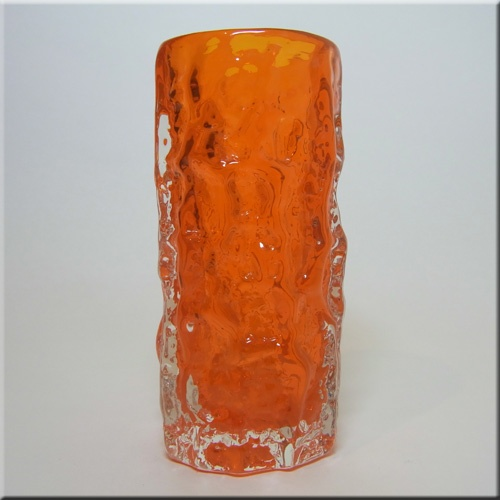 """Whitefriars tangerine glass cylindrical 6"""" 'Bark' vase, from the 'Textured' range, designed by Geoffrey Baxter, pattern number 9689."""