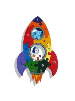 Rocket Number: Handcrafted Traditional Wooden Puzzle from Alphabet Jigsaws. #learnnumbers #learnandplay #childrenstoys