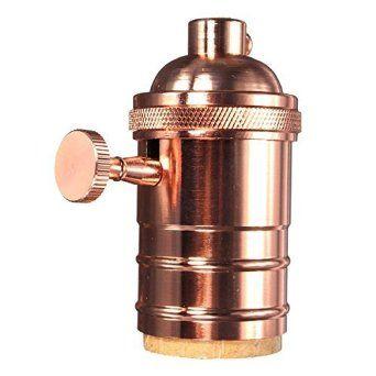 KINGSO E27 Lampenfassung Kupfer Vintage Retro Antike Edison Pendelleuchte Hängelampe Halter DIY Lampe Zubehör Rose Gold