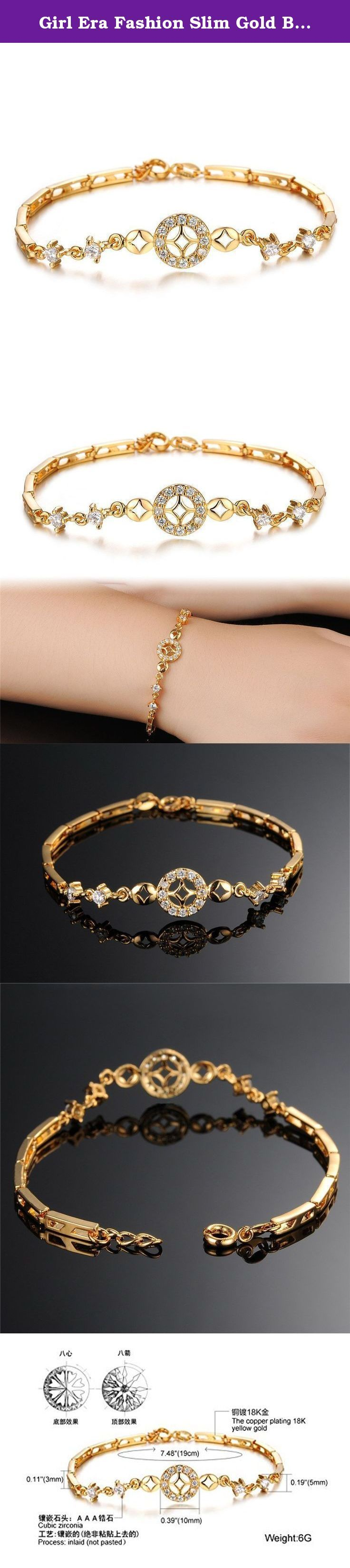 """Girl Era Fashion Slim Gold Bling Cubic Zirconia Princess Charm Tennis Bracelets,7.48"""". Indulge yourself with glamorous fashion jewelry! Girl Era boasts of numerous elegant necklaces, pendants, earrings, bangles, bracelets, brooches in various designs to choose from. The surface of bracelet adopt delicate polishing technology and plated with 18K Gold,it's long colorfast than common electroplating.Silver color part dealing with sand blasting treatment,can resist from scratches effectively...."""