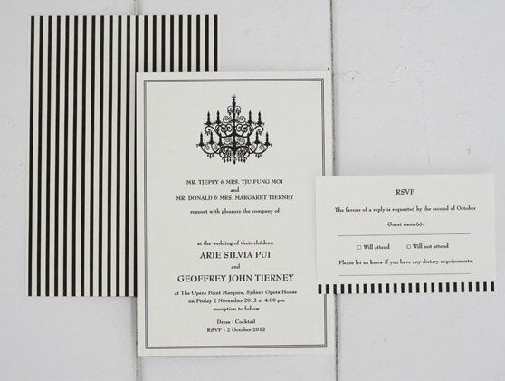 Letterpress wedding stationery. Chandeliers and Stripes work perfectly together for a formal wedding. 'Chandelier' design. Letterpress printed in black on our stunning cotton 300gsm paper. Double sided printing. Reply postcard.