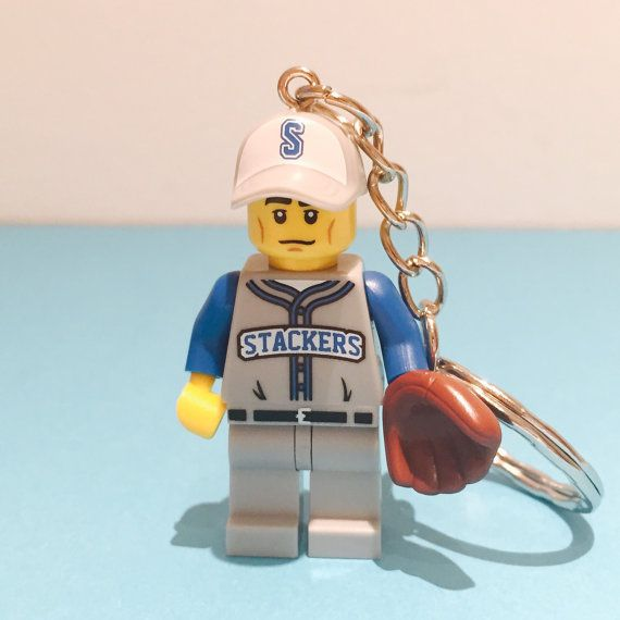 A Lego® baseball pitcher minifigure keychain! A perfect gift for a baseball player, pitcher, a fan or a Lego fan! ~ A nerdy stocking filler ~ A